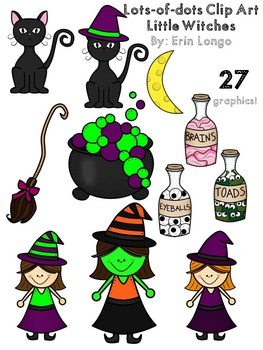 Lots-of-dots- Little Witches- Clip Art