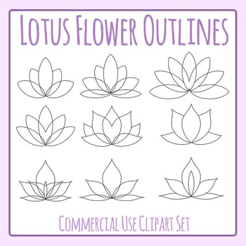 Lotus Flower Outlines Simple Color In Clip Art Set for Com