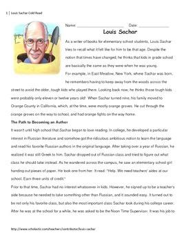 Louis Sachar Cold Read