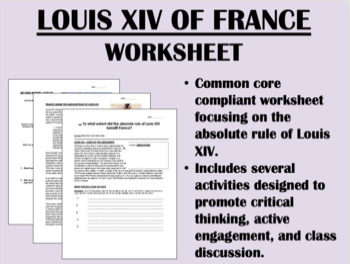 Louis XIV of France worksheet - Absolutism - Global/World