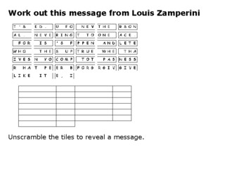 Louis Zamperini Message Puzzle on Forgiveness