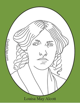 Louisa May Alcott Clip Art, Coloring Page or Mini Poster