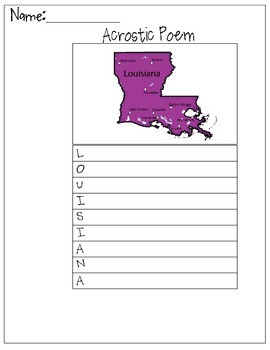 Louisiana Acrostic Poem