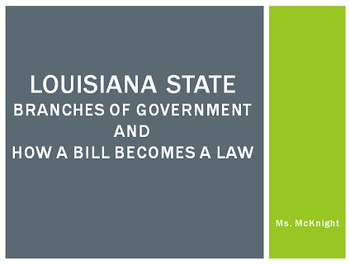 Louisiana Branches of Government & How a Bill becomes a Law