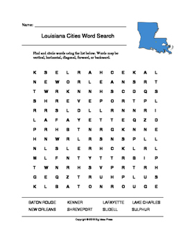 Louisiana Cities Word Search (Grades 3-5)