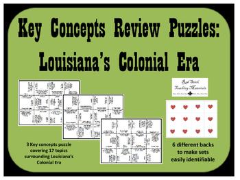 Louisiana History--Colonial Era & Acadians Key Concepts Puzzle