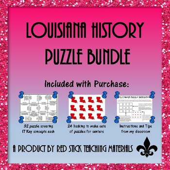 Louisiana History Key Concepts Puzzle Bundle--A GROWING BUNDLE!