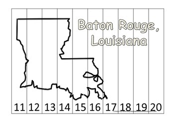 Louisiana State Capitol Number Sequence Puzzle 11-20.  Geo