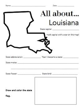 Louisiana State Facts Worksheet: Elementary Version