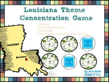 Louisiana Theme Concentration Game (shapes, letters, numer