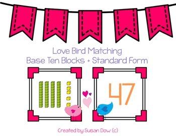 Love Bird Matching Math Station - Base Ten Blocks and Stan