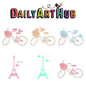 Love Birds In Paris Clip Art - Great for Art Class Projects!