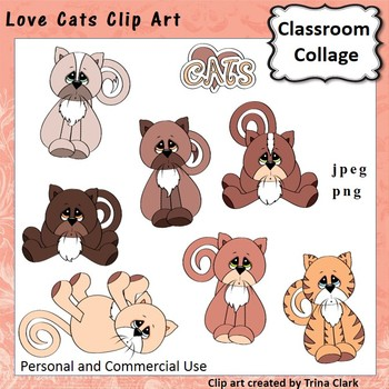 Love Cats Clip Art - color - personal & commercial use