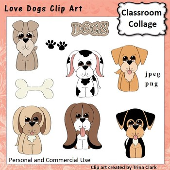 Love Dogs Clip Art - color - personal & commercial use