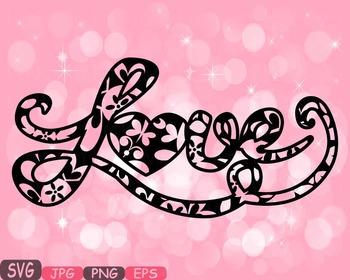 Love Flower word art clipart Heart floral Valentine monogr