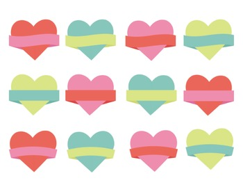 Love Heart Badges, Heart Clipart, Valentines Day, Heart Set #014
