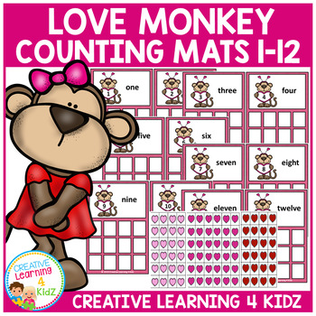 Valentine's Day Love Monkeys Counting Boards 1-12