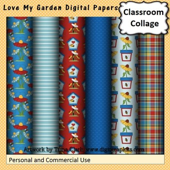Love My Garden Digital Papers Set  personal & commercial use
