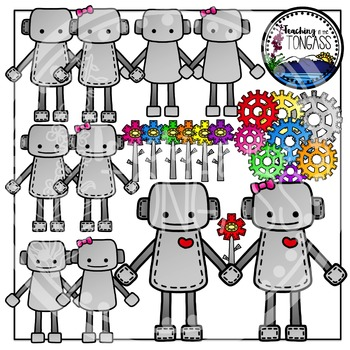 Valentine Clipart Love Robots Bundle