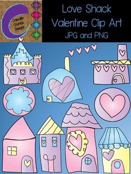 Love Shack Valentine Clip Art Set Color Images