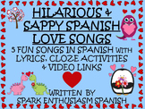 Love Songs in Spanish with Lyrics, Cloze Activities and Vi