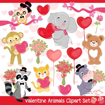 Love Valentine Animals Clipart Set