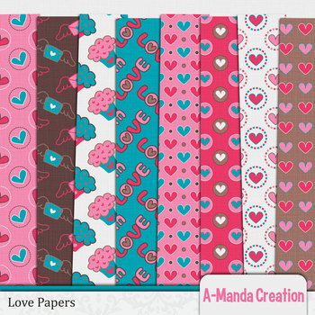 Love and Valentine's Day Digital Papers