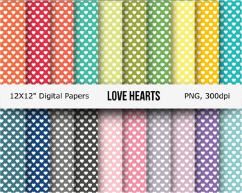 Love hearts digital seamless pattern digital paper
