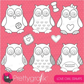 Love owls stamps commercial use, vector graphics, images - DS402
