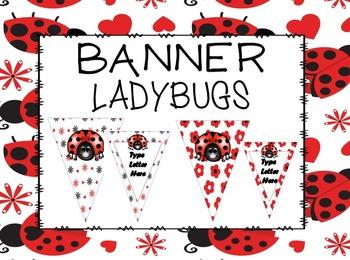 EDITABLE Ladybug Banner