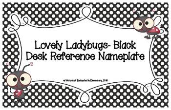 Lovely Ladybug Black Desk Reference Nameplates