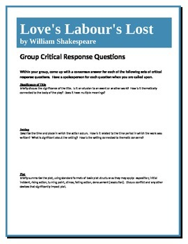 Love's Labour's Lost - Shakespeare - Group Critical Respon