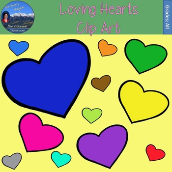 Loving Hearts Clip Art - 15 Different Colored Hearts in 3 Sizes