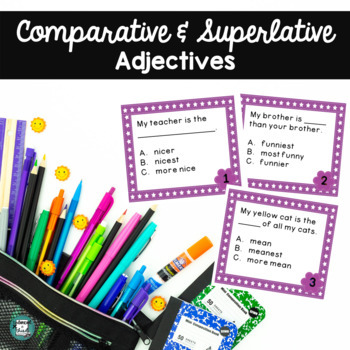 Loving Language Task Cards - Comparative and Superlative A