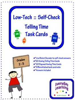 Low Tech Self Check Telling Time Task Cards