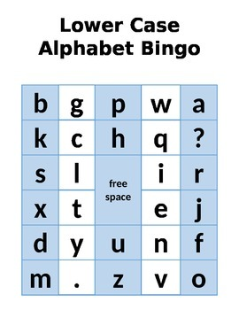 Lower Case Alphabet Bingo