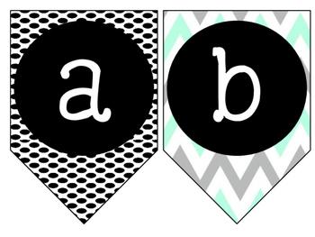 Lowercase Alphabet Banner {Turquoise, Black, & Grey}