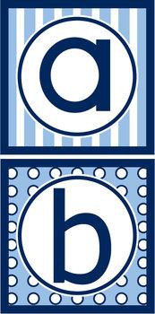 Lowercase Alphabet Letters - Navy & Light Blue