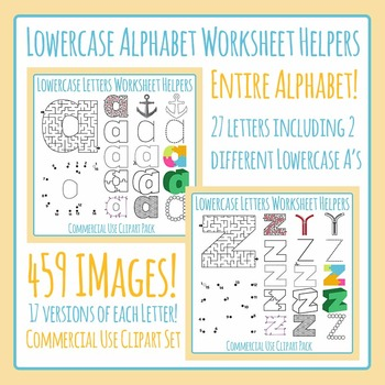 Lowercase Alphabet Worksheet Helper Clip Art Bundle: 459 I