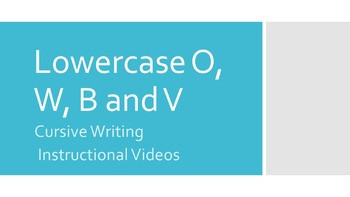 Lowercase Cursive O, W, B and V Instructional Videos (#7 i