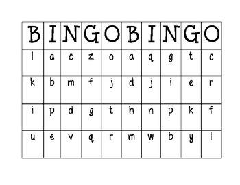 Lowercase Letter Bingo