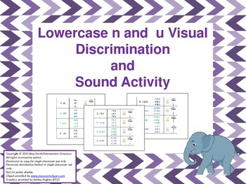 Lowercase n and u Visual Discrimination Activity (K-2, 4 pgs.)