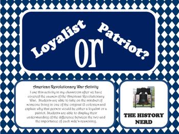 Loyalist of Patriot