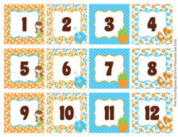 Luau Classroom Decor Monthly Calendar Numbers