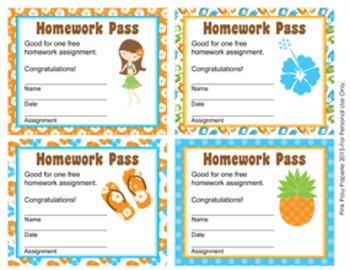 Luau Homework Passes