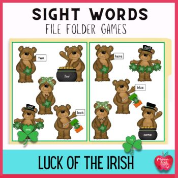 Luck of the Irish Bears High Frequency Word File Folder Games