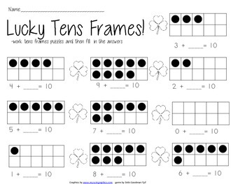 Lucky 10 and 5 Frames Puzzles and Worksheets-- Decomposing