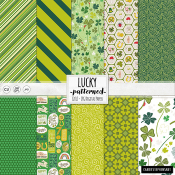 Lucky Green Digital Background Papers - Patterned, UnTextu