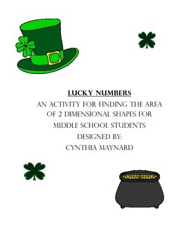 Lucky Numbers Area Task Cards for St. Patrick's Day Geometry