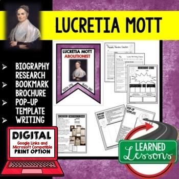 Lucretia Mott Biography Research, Bookmark Brochure, Pop-U